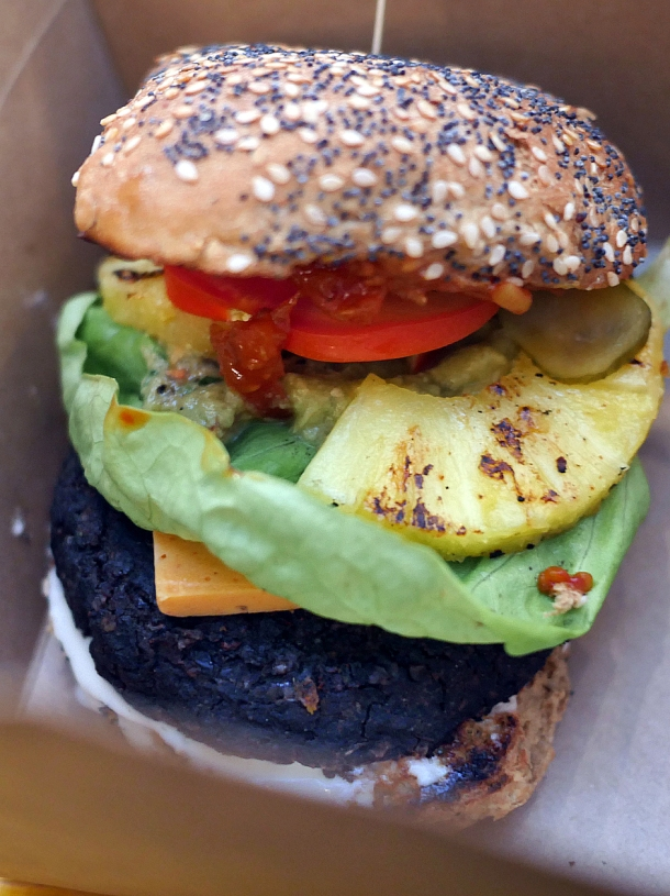 illustrative photo of the vegan burger from Love Shack at Mercato Metropolitano