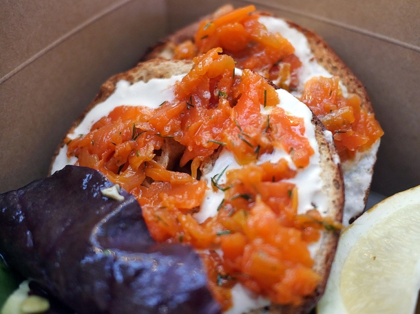 illustrative photo of the vegan smoked salmon from Love Shack at Mercato Metropolitano