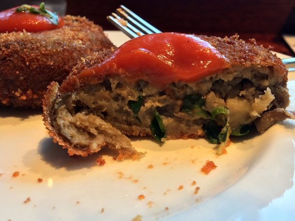 illustrative photo of the aubergine polpette from Lina Stores at Arcade Food Theatre Centre Point