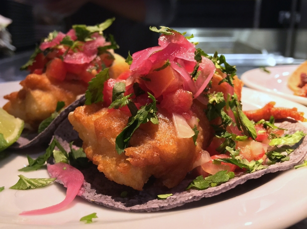 illustrative photo of the Baja fish tacos from Pastorcito at Arcade Food Theatre Centre Point