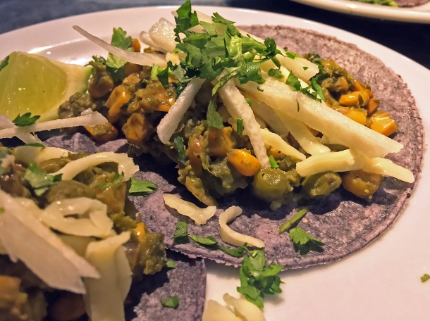 illustrative photo of the pea and Oaxacan cheese tacos from Pastorcito at Arcade Food Theatre Centre Point
