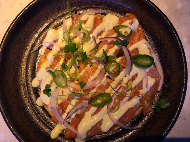 illustrative photo of the salmon tostadita from Chotto at Arcade Food Theatre Centre Point