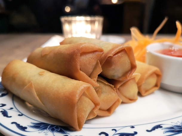 illustrative photo of the vegetarian spring rolls at Mc and Sons