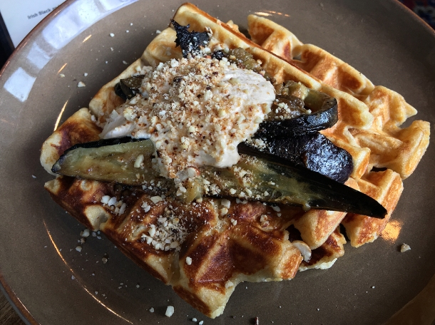 illustrative photo of the aubergine miso cashew waffles from Eat Like A Girl at Homeboy