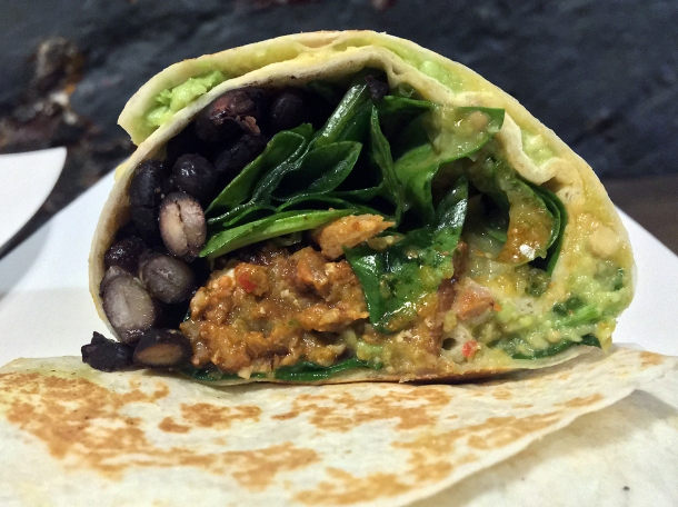 illustrative photo of the beef burrito from Breddos at Flat Iron Square
