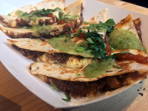 illustrative photo of the beef quesadilla from Breddos at Flat Iron Square