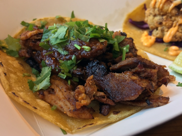 illustrative photo of the beef tacos from Breddos at Flat Iron Square