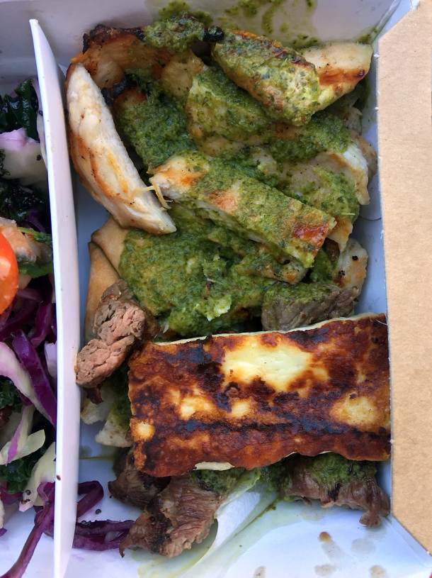 illustrative photo of the chicken, steak and halloumi from Savage Salads at Flat Iron Square