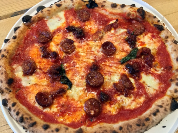 illustrative photo of the chorizo and sobrassada pizza from Baz and Fred at Flat Iron Square Southwark