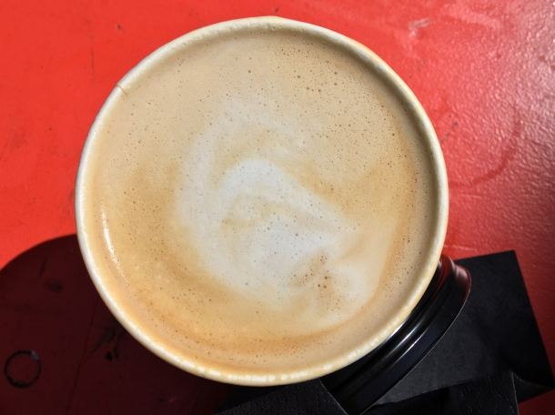 illustrative photo of a large flat white from Gentlemen Baristas at Flat Iron Square