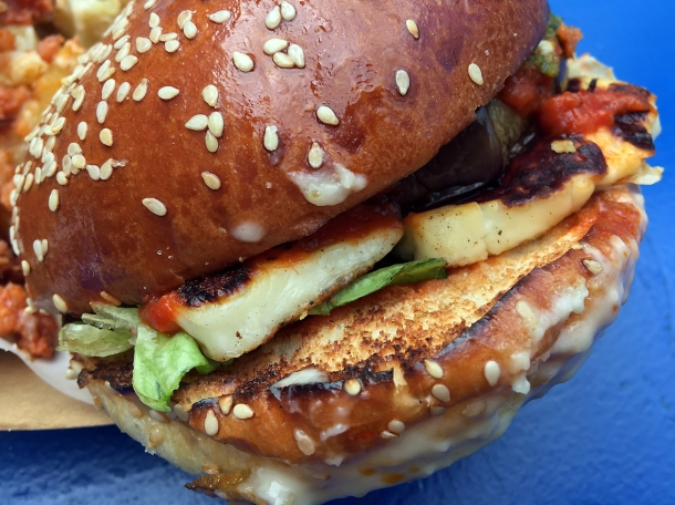 illustrative photo of the El Veggie burger from Edu at Flat Iron Square
