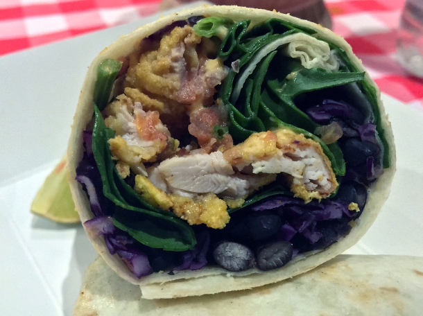 illustrative photo of the fried chicken burrito from Breddos at Flat Iron Square