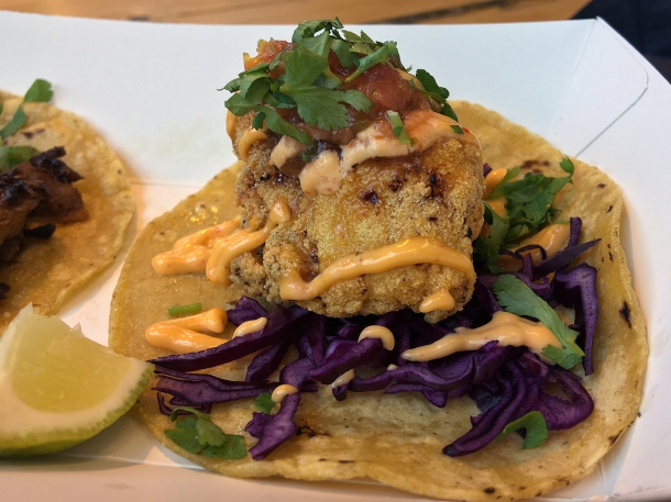 illustrative photo of the fried chicken tacos from Breddos at Flat Iron Square