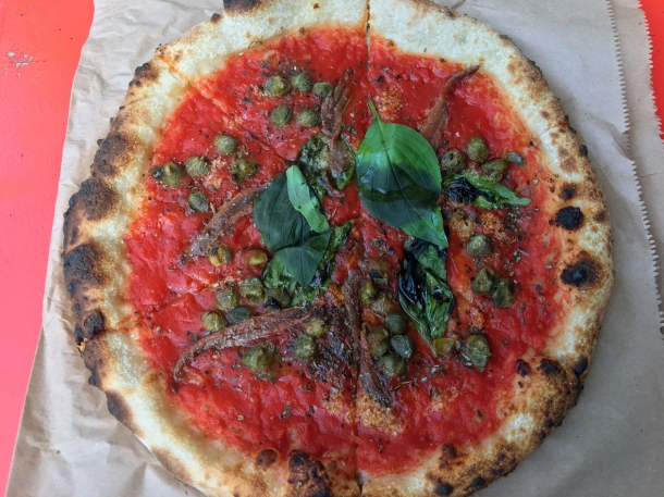 illustrative photo of the marinara pizza from Baz and Fred at Flat Iron Square