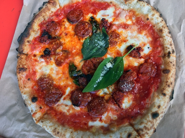 illustrative photo of the nduja and chorizo pizza from Baz and Fred at Flat Iron Square