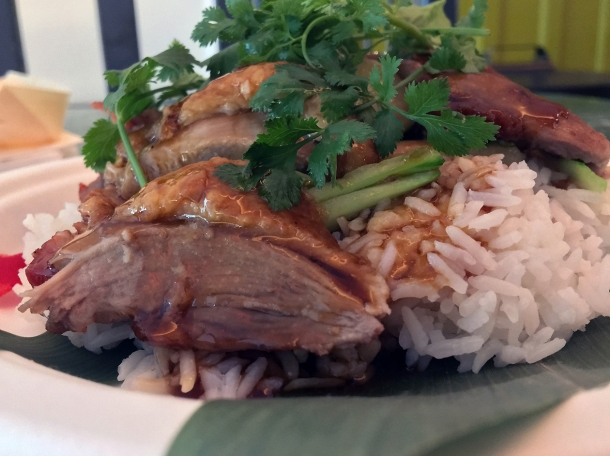 illustrative photo of the roast duck from Ekachai at Flat Iron Square