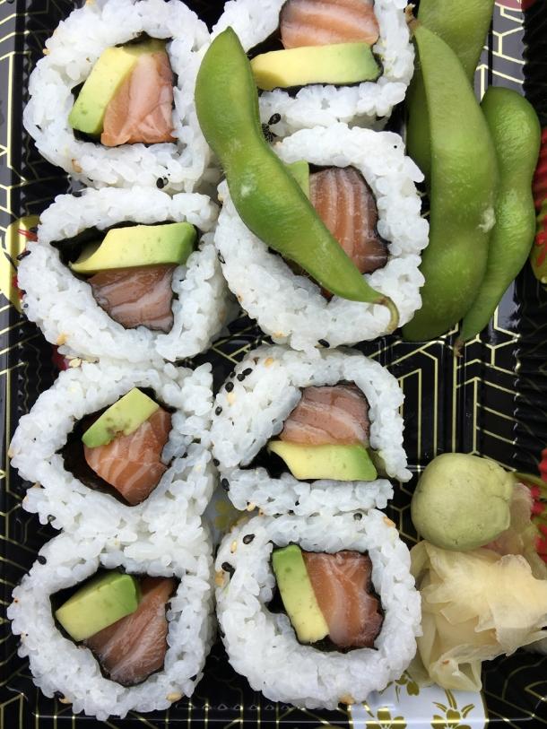 illustrative photo of the salmon and avocado uramaki sushi from Tatami Ramen at Flat Iron Square