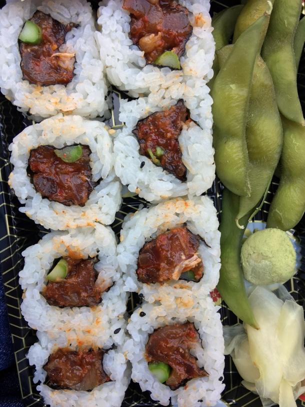 illustrative photo of the spicy tuna uramaki sushi from Tatami Ramen at Flat Iron Square