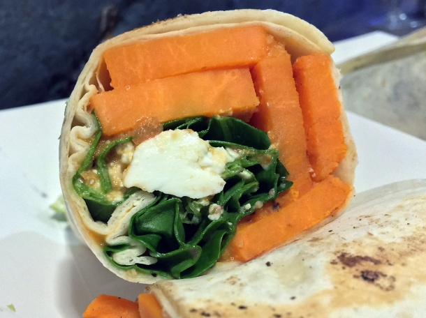 illustrative photo of the sweet potato and feta burrito from Breddos at Flat Iron Square