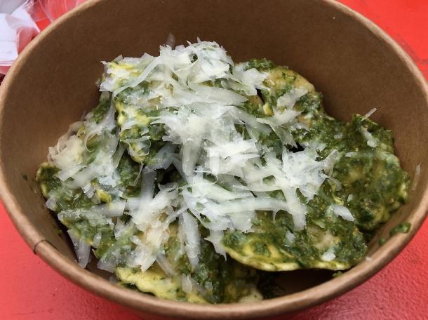illustrative photo of the vegan ravioli from La Nonna at Flat Iron Square