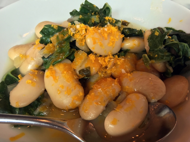 butter beans with cured egg yolk and kale at bar douro