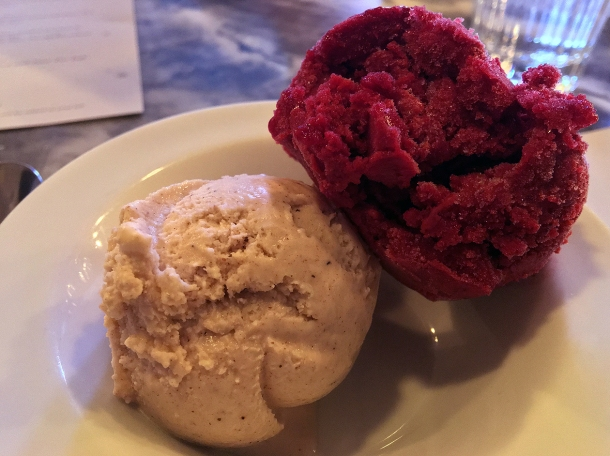 illustrative photo of the cinnamon ice cream and blackcurrant sorbet at Bar Douro