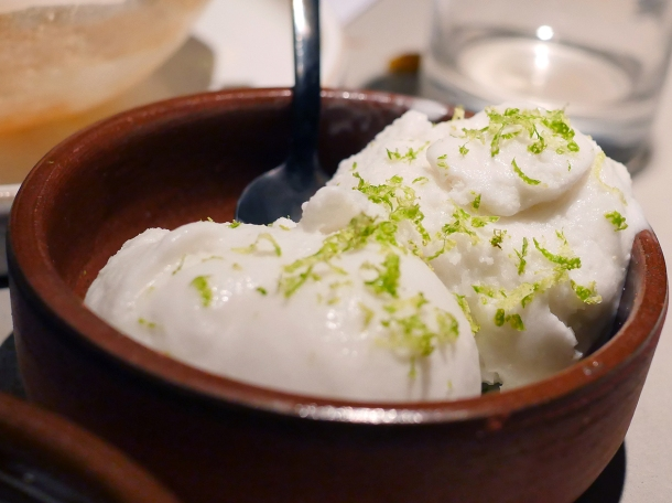 illustrative photo of the coconut and lime sorbet at Kolamba