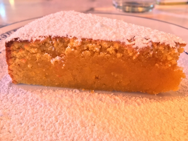 illustrative photo of the egg yolk almond cake at Bar Douro Flat Iron Square