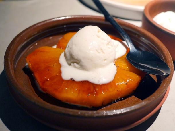 illustrative photo of the grilled pineapple and vanilla ice cream at Kolamba