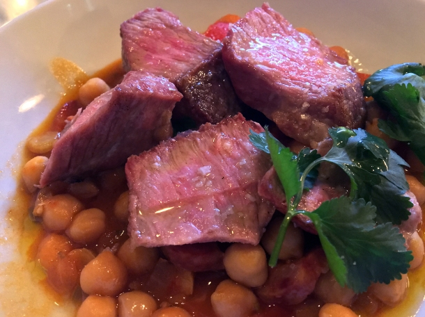 illustrative photo of the iberico pork with chorizo and chickpeas at Bar Douro