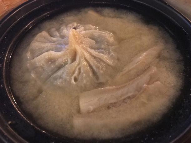 illustrative photo of the mushroom big dumpling in soup at Baozi Inn London Bridge