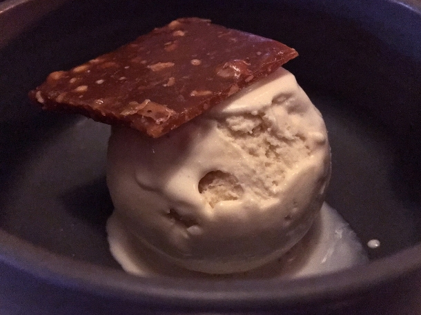 illustrative photo of the buffalo milk ice cream with butterscotch and cashew brittle at Paradise Soho