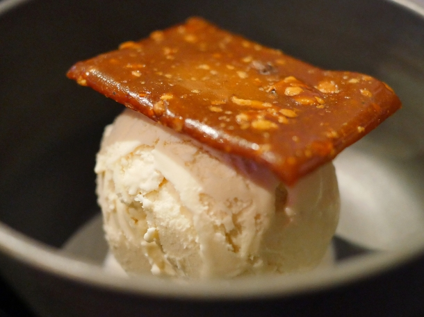 illustrative photo of the buffalo milk ice cream with cashew butterscotch brittle at Paradise Soho Rupert Street