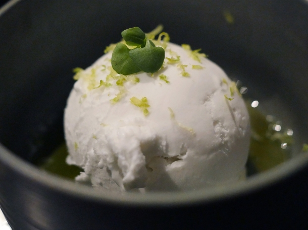 illustrative photo of the coconut sorbet with basil oil at Paradise Soho