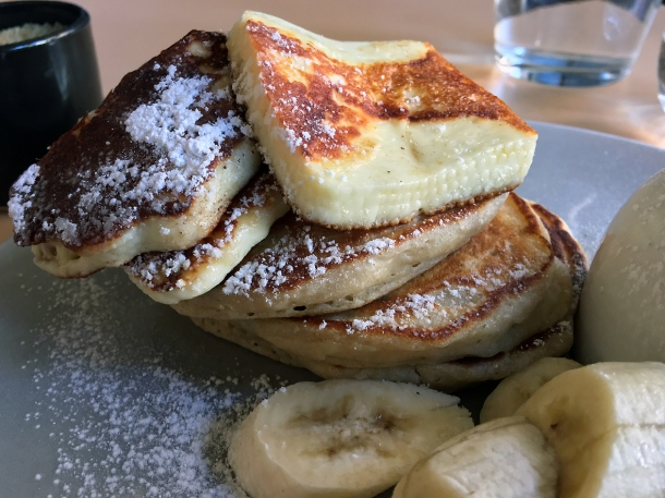 illustrative photo of the halloumi and banana American pancakes at Where The Pancakes Are