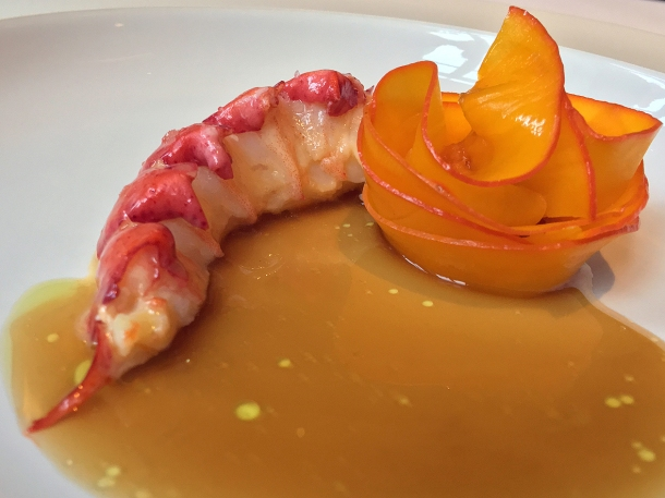 illustrative photo of the lobster tail with bisque and squash at Claridge's Davies and Brook