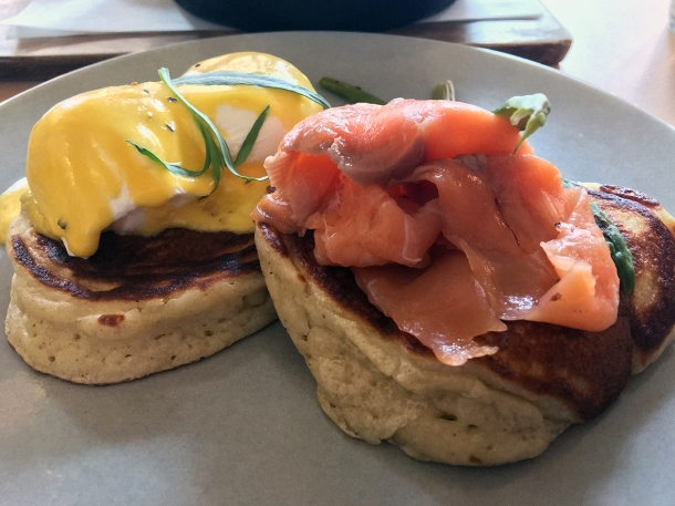 illustrative photo of the Royal smoked salmon pancakes at Where The Pancakes Are