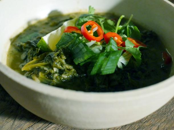 illustrative photo of the spinach and kale laing at Bong Bong's Manila Kanteen
