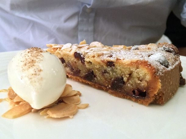 illustrative photo of the almond and cherry tart with cardamom gelato at Trivet