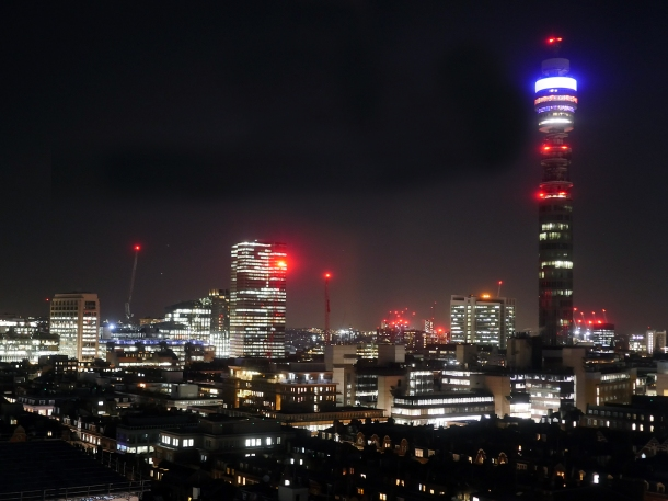 photo of the BT Tower as seen from Madera Treehouse