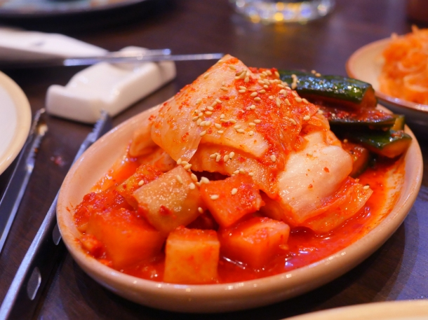 illustrative photo of the cabbage and cucumber kimchi at Soju Reading