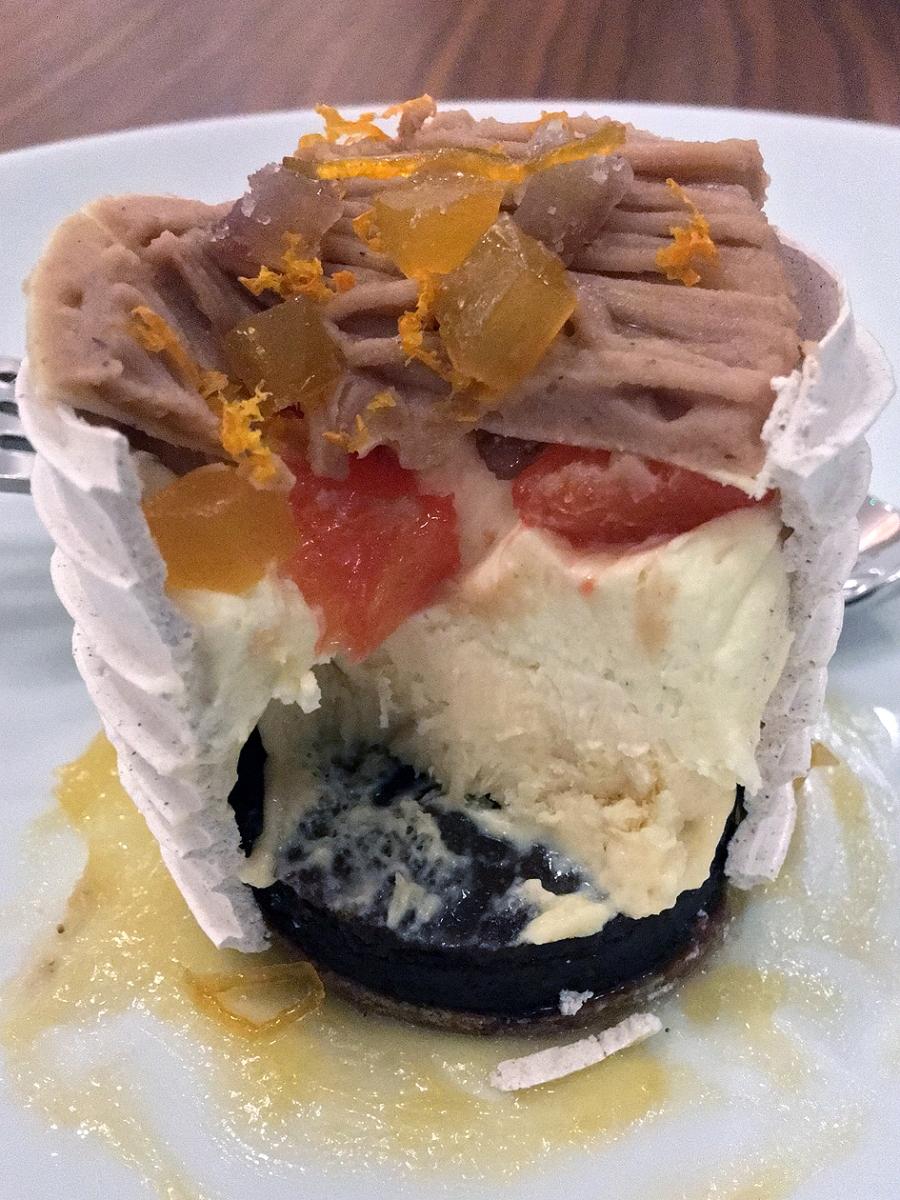 illustrative photo of the chestnut and bitter orange dessert at Trivet
