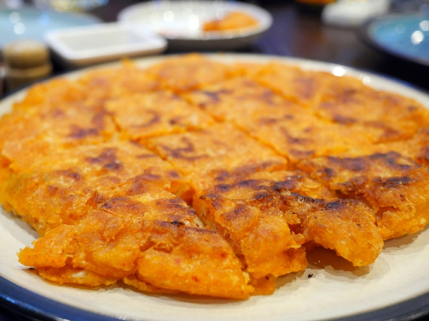 illustrative photo of the kimchi pajeon at Soju Reading