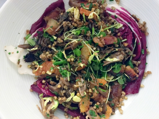illustrative photo of the confit duck salad at Lupins