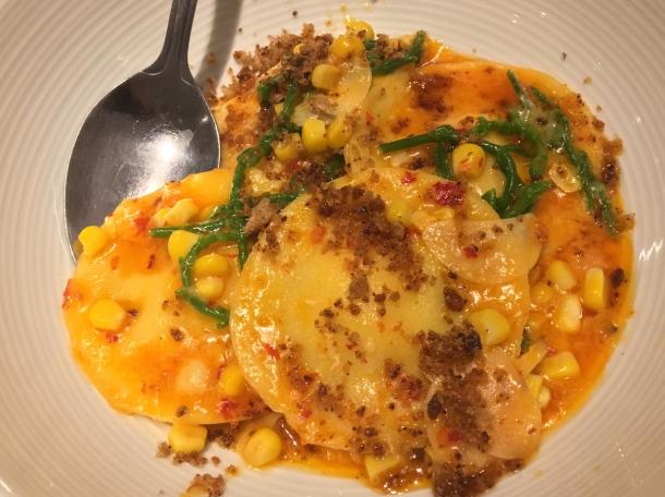 illustrative photo of the corn ravioli with samphire and nduja at Lupins