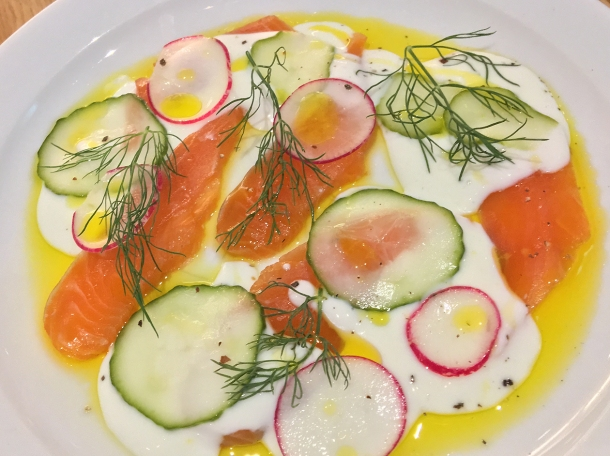 illustrative photo of the cured trout in cream with dill, cucumbers and radishes at Lupins