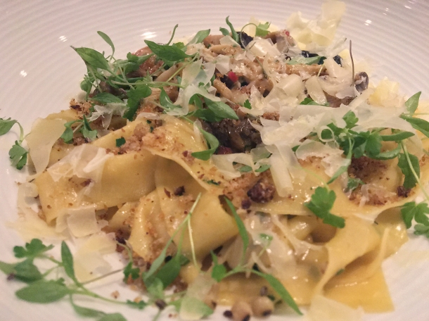 illustrative photo of the pappardelle with mushrooms and chilli at Lupins