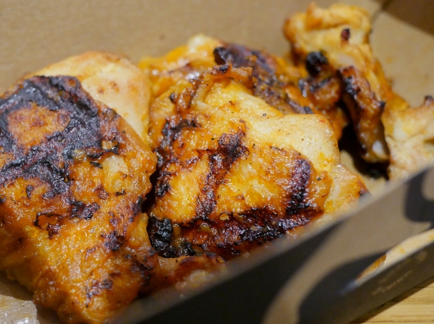 illustrative photo of the extra hot chicken thighs from Nando's Woolwich