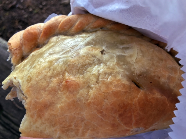 illustrative photo of a Cornish pasty from the Porthcurno Beach Cafe
