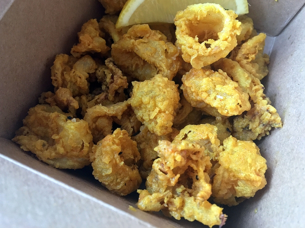 illustrative photo of the takeaway deep fried squid from Searoom St Ives